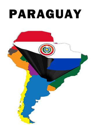 Outline map of South America with Paraguay raised and highlighted with the national flag
