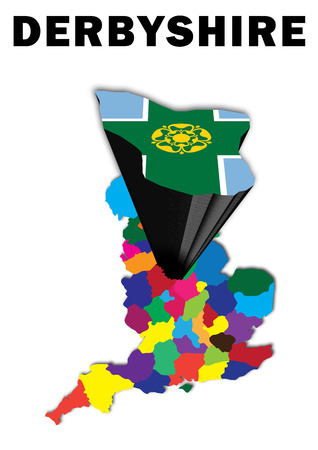 derbyshire: Outline map of England with Derbyshire raised and highlighted with the county flag