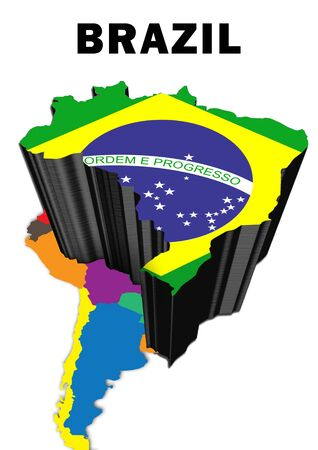 Outline map of South America with Brazil raised and highlighted with the national flag Stock Photo