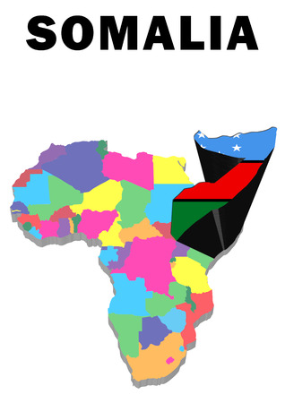Outline map of Africa with Somalia raised and highlighted with the national flag Stock Photo