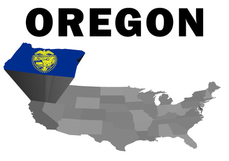 Outline map of the United States with the state of Oregon raised and highlighted with the state flag