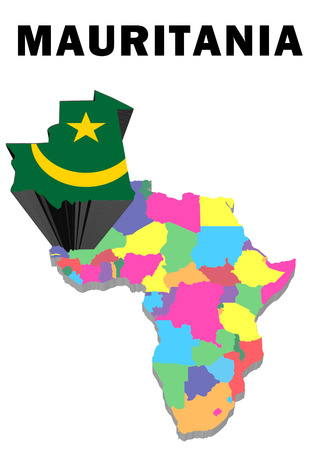 Outline map of Africa with Mauritania raised and highlighted with the national flagMauritania Stock Photo