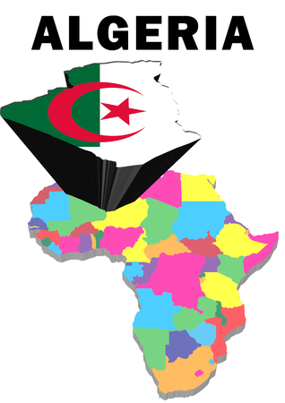 Outline map of Africa with Algeria raised and highlighted with the national flag Stock Photo