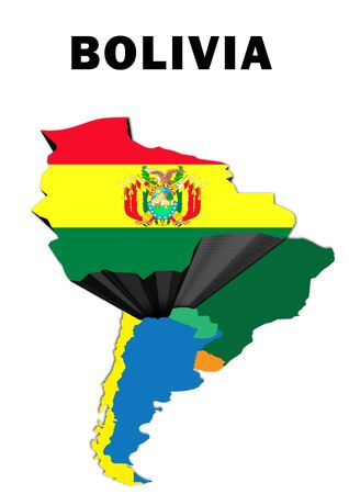 Outline map of South America with Bolivia raised and highlighted with the national flag