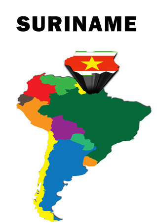 Outline map of South America with Suriname raised and highlighted with the national flag Stock Photo