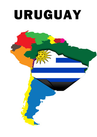 Outline map of South America with Uruguay raised and highlighted with the national flag