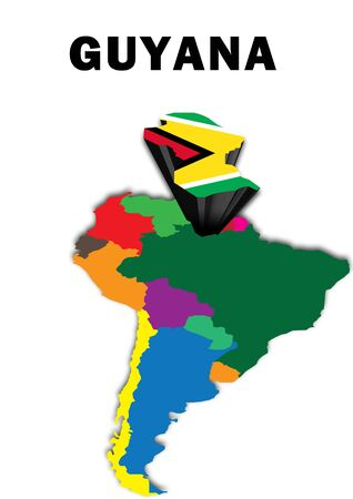 Outline map of South America with Guyana raised and highlighted with the national flag