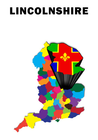 Outline map of England with Lincolnshire raised and highlighted with the county flag