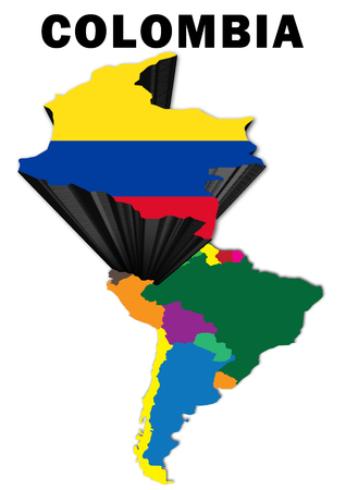 Outline map of South America with Colombia raised and highlighted with the national flag Stock Photo
