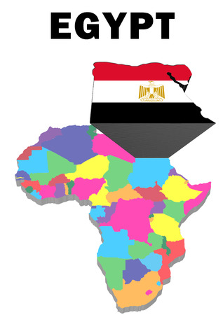 Outline map of Africa with Egypt raised and highlighted with the national flag