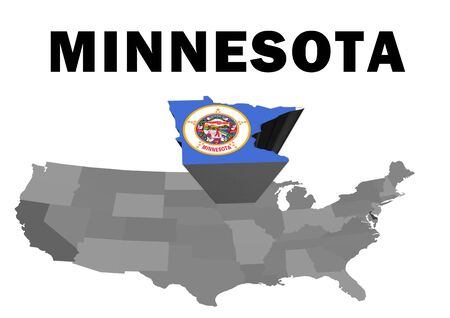 Outline map of the United States with the state of Minnesota raised and highlighted with the state flag Stock Photo