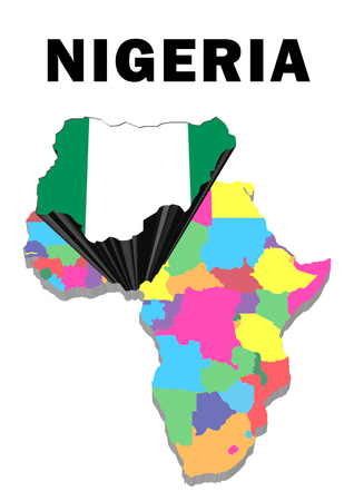 Outline map of Africa with Nigeria raised and highlighted with the national flag Stock Photo