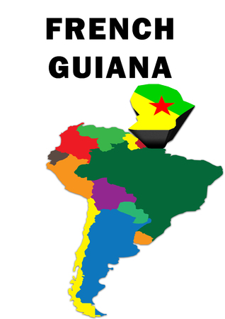 Outline map of South America with French Guiana raised and highlighted with the national flag