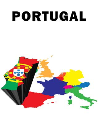 Outline map of Western Europe with Portugal raised and highlighted with the national flag Stock Photo