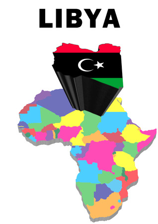 Outline map of Africa with Libya raised and highlighted with the national flag