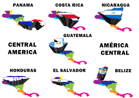 Montage of all seven Central American countries highlighted with their national flags
