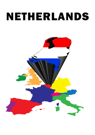 Outline map of Western Europe with the Netherlands raised and highlighted with the national flag Stock Photo