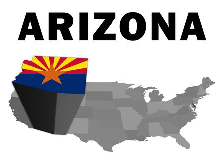 Outline map of the United States with the state of Arizona raised and highlighted with the state flag Stock Photo