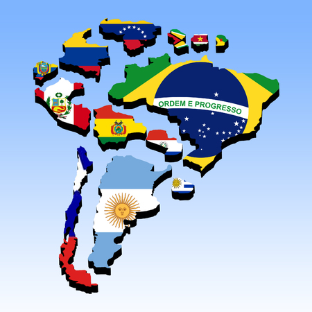 Illustration of the countries of South America separated and presented in 3D with national flags