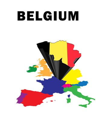 Outline map of Western Europe with Belgium raised and highlighted with the national flag