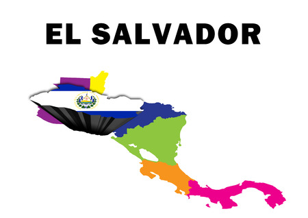 Outline map of Central America with El Salvador raised and highlighted with the national flag