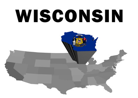 Outline map of the United States with the state of Wisconsin raised and highlighted with the state flag