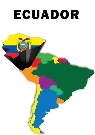 Outline map of South America with Ecuador raised and highlighted with the national flag