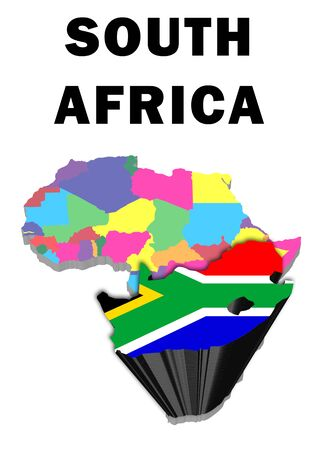 Outline map of Africa with South Africa raised and highlighted with the national flag Stock Photo