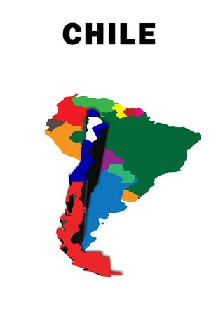 Outline map of South America with Chile raised and highlighted with the national flag Stock Photo