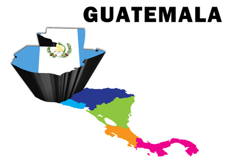 Outline map of Central America with Guatemala raised and highlighted with the national flag