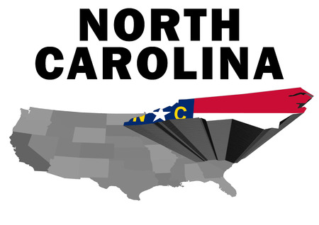 Outline map of the United States with the state of North Carolina raised and highlighted with the state flag