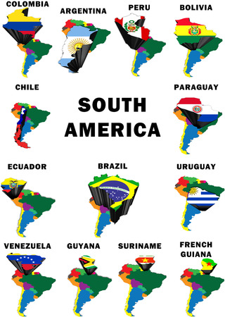 Montage of all 13 South American mainland countries highlighted with their national flags