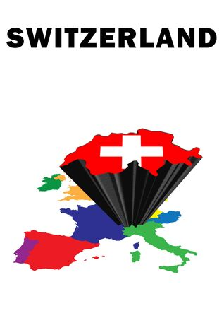 Outline map of Western Europe with Switzerland raised and highlighted with the national flag