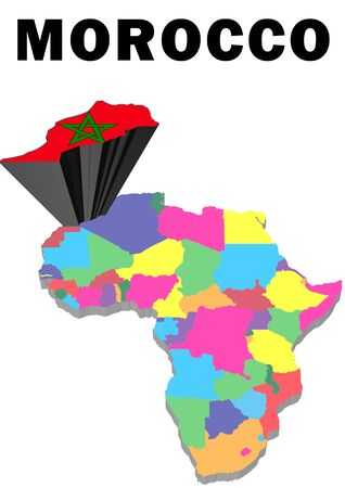 Outline map of Africa with Morocco raised and highlighted with the national flag