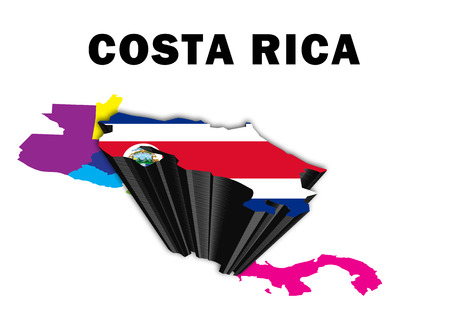 Outline map of Central America with Costa Rica raised and highlighted with the national flag