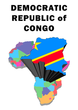 Outline map of Africa with Democratic Republic of Congo raised and highlighted with the national flag