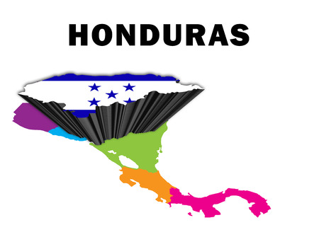 Outline map of Central America with Honduras raised and highlighted with the national flag