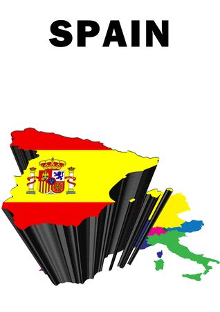 Outline map of Western Europe with Spain raised and highlighted with the national flag