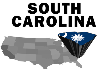 Outline map of the United States with the state of South Carolina raised and highlighted with the state flag Stock Photo