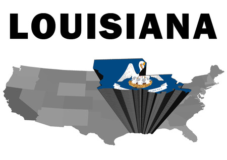 Outline map of the United States with the state of Louisiana raised and highlighted with the state flag