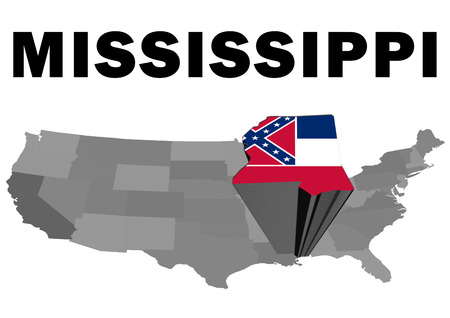 Outline map of the United States with the state of Mississippi raised and highlighted with the state flag