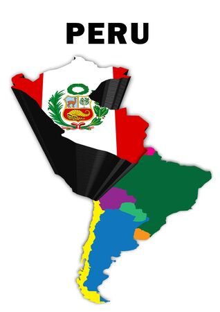 Outline map of South America with Peru raised and highlighted with the national flag