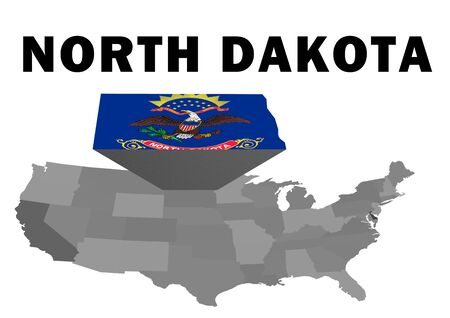 Outline map of the United States with the state of North Dakota raised and highlighted with the state flag
