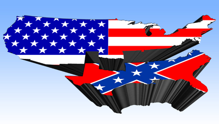 3D illustration showing the division of the States in the American Civil War Stock Photo