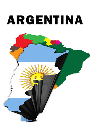 Outline map of South America with Argentina raised and highlighted with the national flag