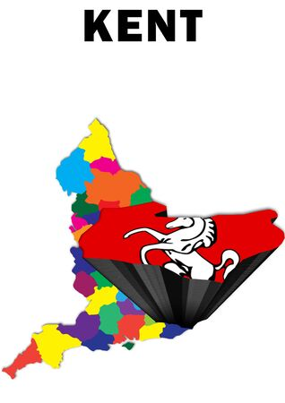 Outline map of England with Kent raised and highlighted with the county flag