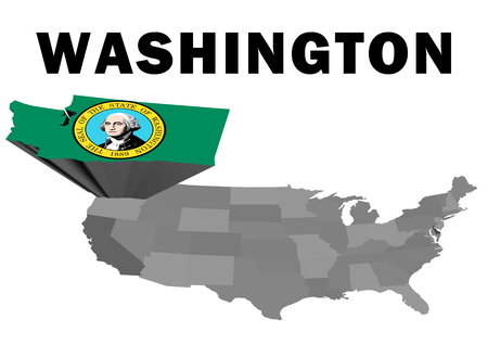 Outline map of the United States with the state of Washington raised and highlighted with the state flag