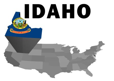 Outline map of the United States with the state of Idaho raised and highlighted with the state flag