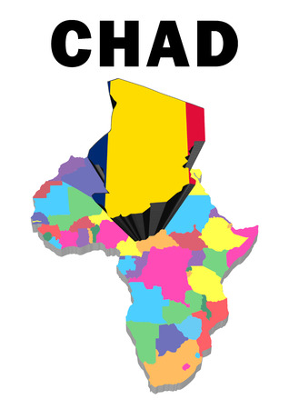 Outline map of Africa with Chad raised and highlighted with the national flag