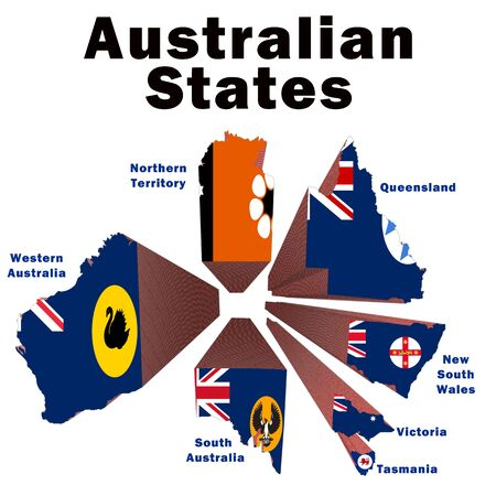 Exploded drawing of the Australian states coloured with their state flags